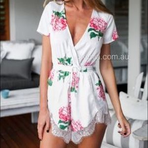 Xenia flora & lace playsuit